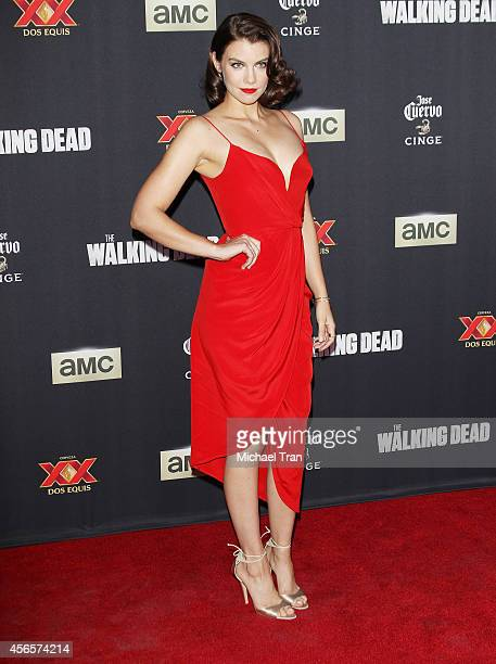 Lauren Cohan arrives at AMC's 'The Walking Dead' Season 5 Premiere held at AMC Universal City Walk on October 2 2014 in Universal City California