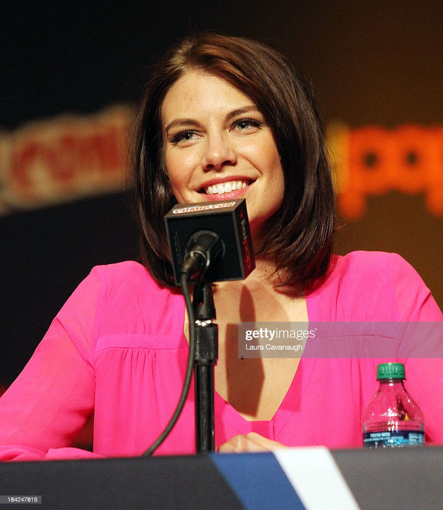 <a gi-track='captionPersonalityLinkClicked' href=/galleries/search?phrase=Lauren+Cohan&family=editorial&specificpeople=4421688 ng-click='$event.stopPropagation()'>Lauren Cohan</a> attends 'The Walking Dead' Panel at New York Comic Con at Jacob Javits Center on October 12, 2013 in New York City.