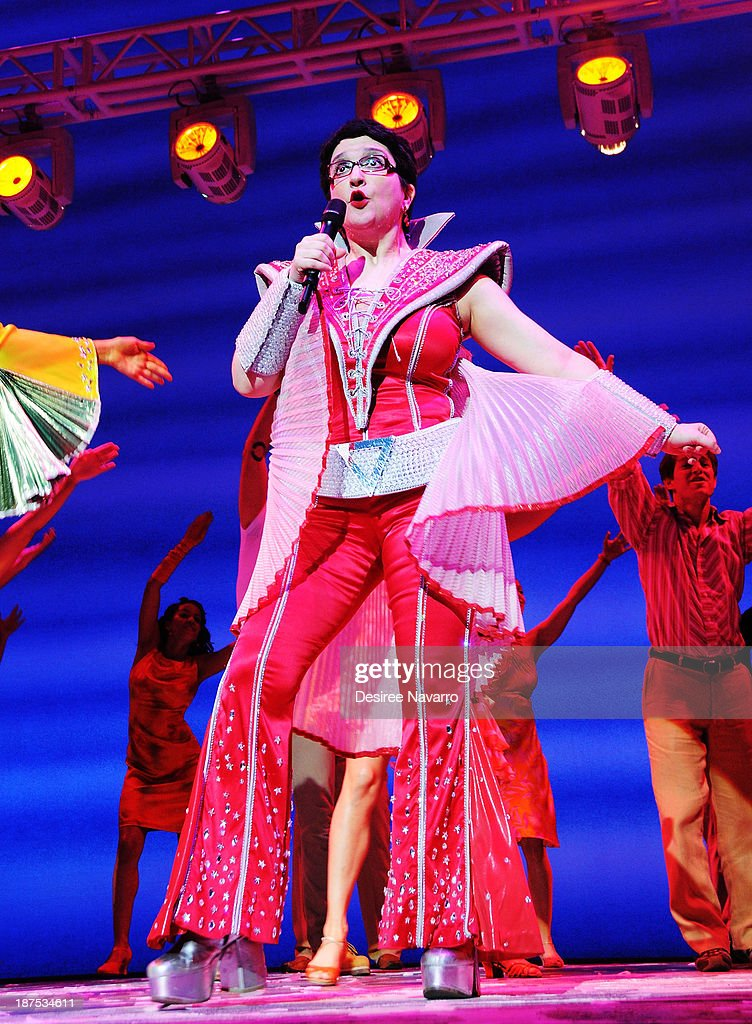 Lauren Cohn performs on stage during curtain call at the 5,000 performance celebration of 'Mamma Mia!' on Broadway at Broadhurst Theatre on November 9, 2013 in New York City.