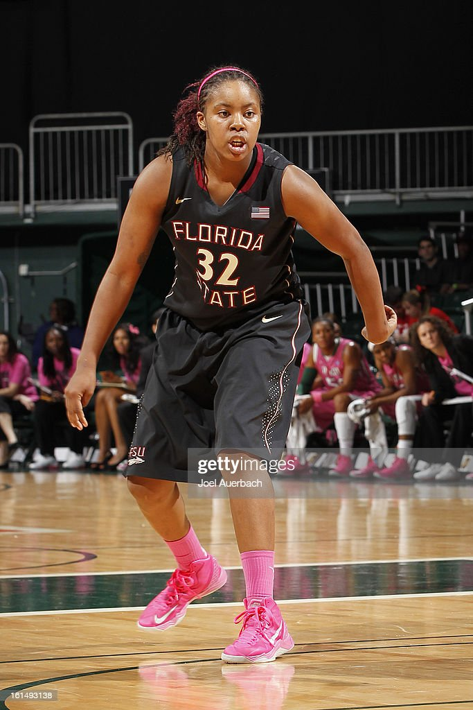 Lauren Coleman #32 of the Florida State Seminoles defends against the Miami Hurricanes on February 10, 2013 at the BankUnited Center in Coral Gables, Florida. The Seminoles defeated the Hurricanes 93-78.