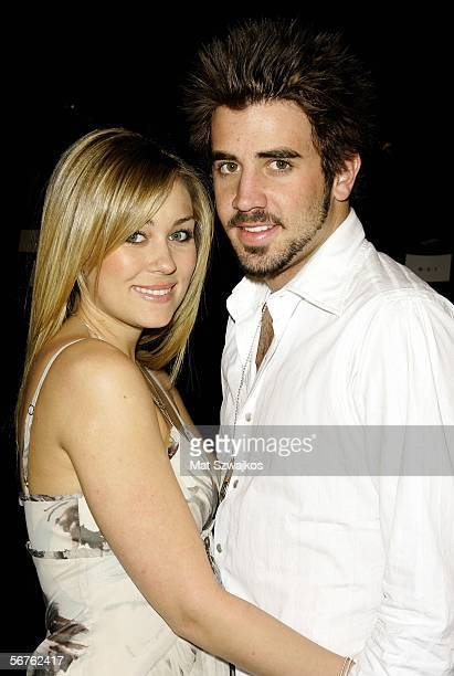 Lauren Conrad and Jason Wahler attend the Max Azria Fall 2006 fashion show during Olympus Fashion Week at Bryant Park on February 6 2006 in New York...