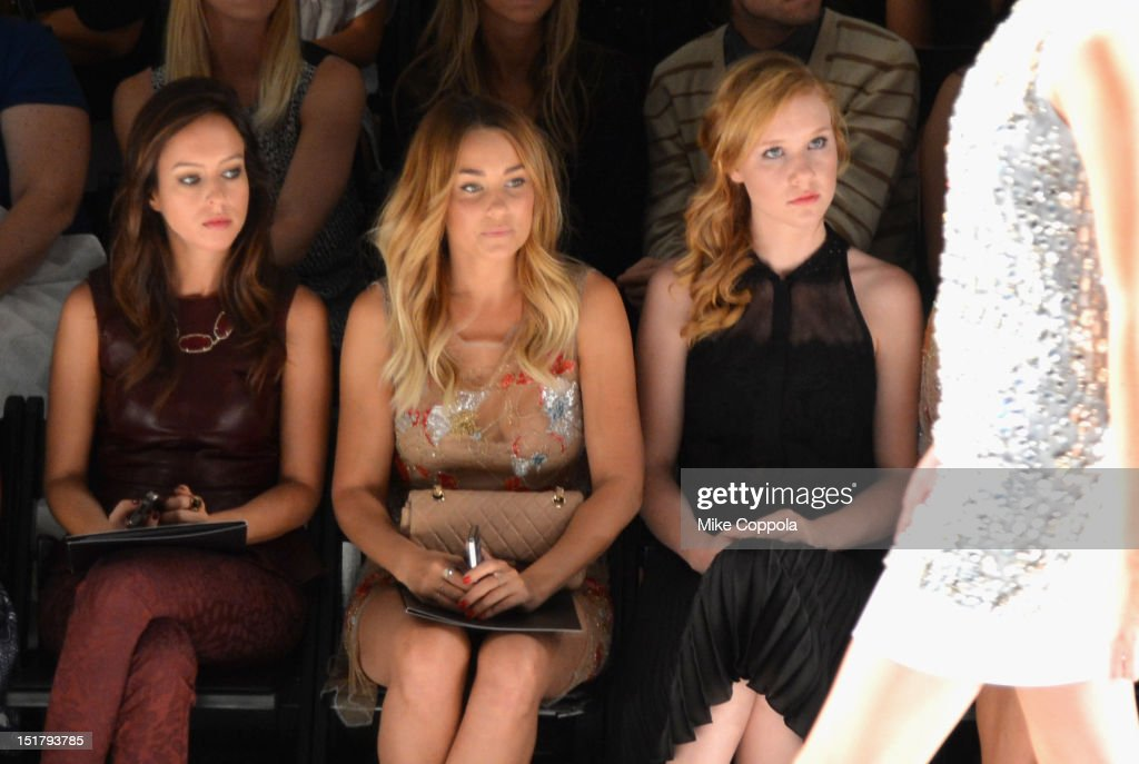 Lauren Conrad (C) and Madisen Beaty (R) attend the Jenny Packham Runway Show during the Spring 2013 Mercedes-Benz Fashion Week at The Studio Lincoln Center on September 11, 2012 in New York City.