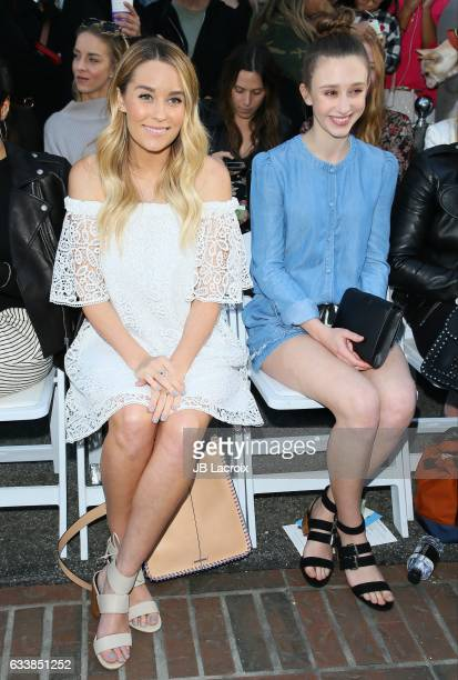 Lauren Conrad and Taissa Farmiga attend designer Rebecca Minkoff's Spring 2017 'See Now Buy Now' Fashion Show at The Grove on February 4 2017 in Los...