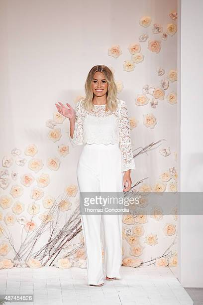 Lauren Conrad greets the guests after presenting her LC Lauren Conrad Spring 2016 Collection during New York Fashion Week at Skylight Modern on...