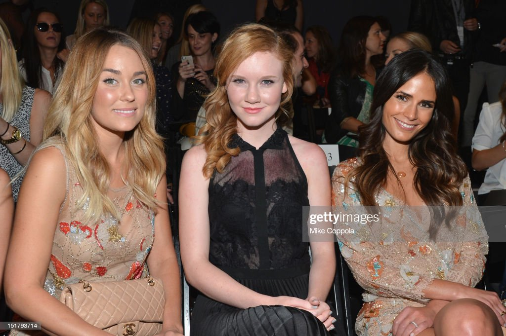 Lauren Conrad, Madisen Beaty and Jordana Brewster attend the Jenny Packham Runway Show during the Spring 2013 Mercedes-Benz Fashion Week at The Studio Lincoln Center on September 11, 2012 in New York City.