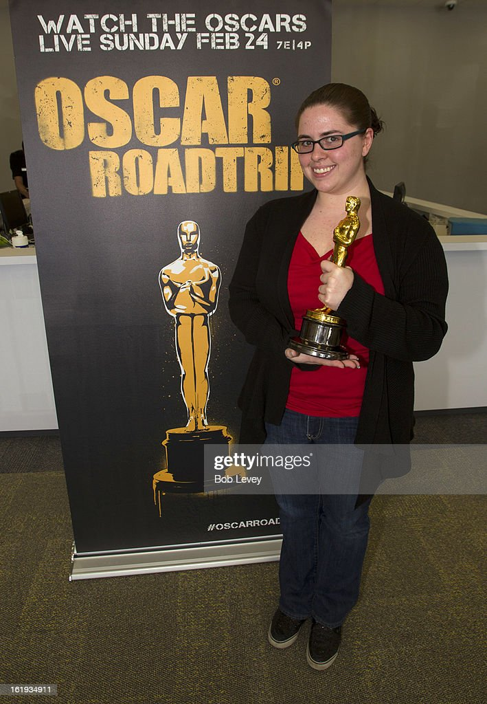 Lauren Croft of Houston, holds the Oscar statue during the First-Ever Oscar Roadtrip on February 17, 2013 in Houston, Texas.