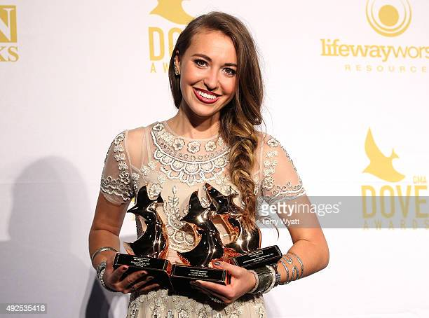 Lauren Daigle speaks in the press room during the 2015 Dove Awards at Allen Arena Lipscomb University on October 13 2015 in Nashville Tennessee