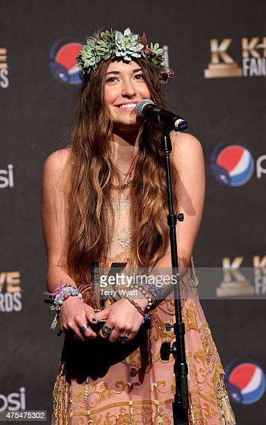 Lauren Daigle speaks onstage in the press room during the 3rd Annual KLOVE Fan Awards at the Grand Ole Opry House on May 31 2015 in Nashville...