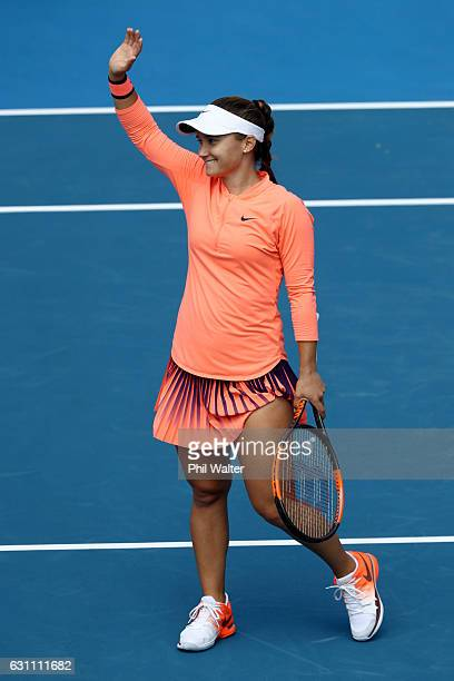 Lauren Davis of the USA celebrates winning the womens singles final over Ana Konjuh of Croatia on Day 6 of the ASB Classic at the ASB Tennis Arena on...