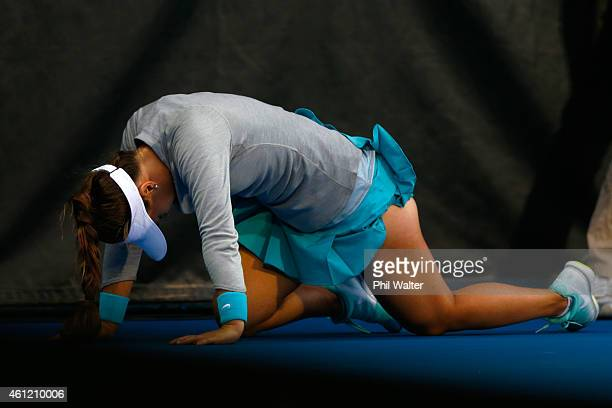 Lauren Davis of the USA falls over in her semifinal match against Venus Williams of the USA during day five of the 2015 ASB Classic at ASB Tennis...