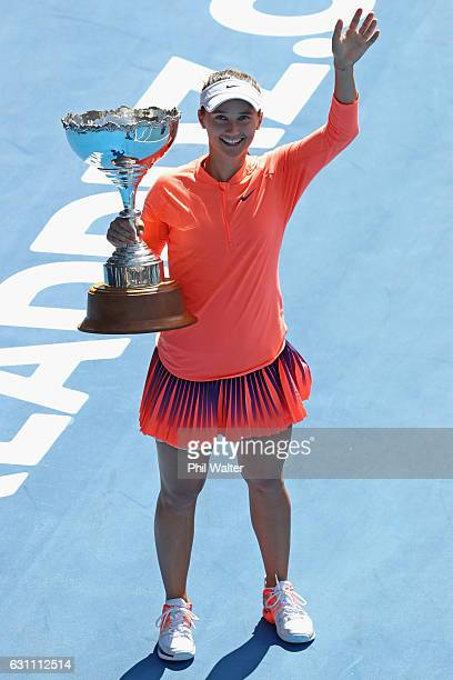 Lauren Davis of the USA holds the trophy after winning the womens singles final over Ana Konjuh of Croatia on Day 6 of the ASB Classic at the ASB...