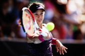 Lauren Davis of the USA plays a forehand during her quarterfinal match against Jamie Hampton of the USA on day four of the ASB Classic at the ASB...