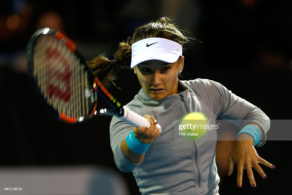 Lauren Davis of the USA plays a forehand in her semifinal match against Venus Williams of the USA during day five of the 2015 ASB Classic at ASB...
