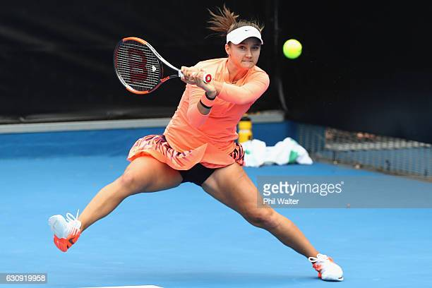 Lauren Davis of the USA plays a return in her singles match against Kurumi Nara of Japan on day three of the ASB Classic on January 4 2017 in...
