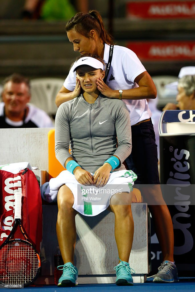 Lauren Davis of the USA recieves medical attention in her semifinal match against Venus Williams of the USA during day five of the 2015 ASB Classic...