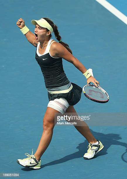 Lauren Davis of USA celebrates winning match point in her first round match against Bojana Bobusic of Australia during day four of the Hobart...
