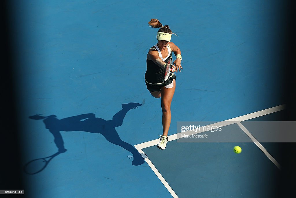 <a gi-track='captionPersonalityLinkClicked' href=/galleries/search?phrase=Lauren+Davis&family=editorial&specificpeople=228903 ng-click='$event.stopPropagation()'>Lauren Davis</a> of USA plays a forehand in her qualifying singles match with Nina Bratchikova of Russia during day three of the Hobart International at Domain Tennis Centre on January 6, 2013 in Hobart, Australia.