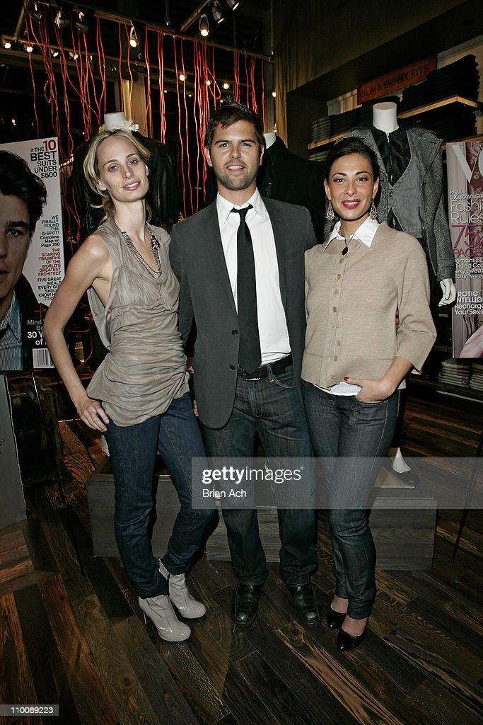 Lauren Davis wearing Levi's Brett Fahlgren of GQ and Stacy London wearing Levi's