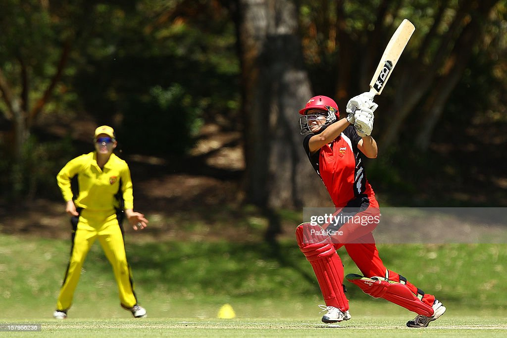 Lauren Ebsary of the Scorpions bats during the WNCL match between the Western Australia Fury and the South Australia Scorpions at the Christ Church Grammar Playing Fields on December 8, 2012 in Perth, Australia.