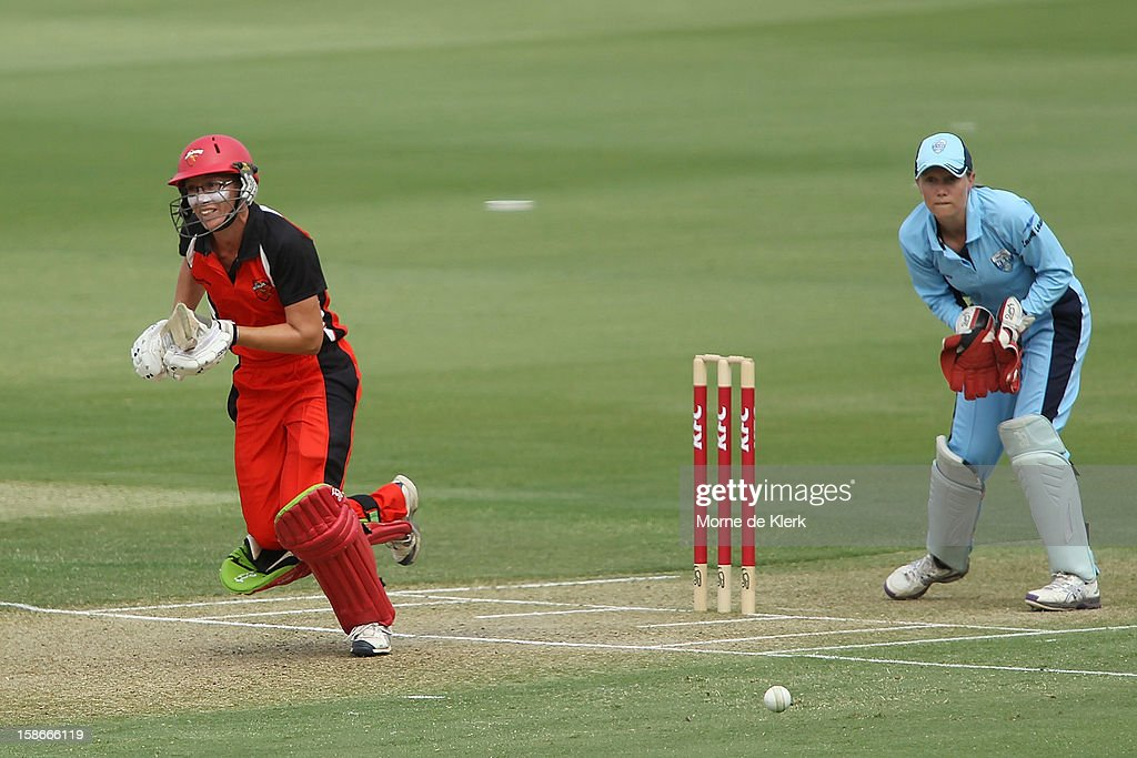 Lauren Ebsary of the Scorpions bats during the women's twenty20 match between the South Australia Scorpions and the New South Wales Breakers at Adelaide Oval on December 23, 2012 in Adelaide, Australia.