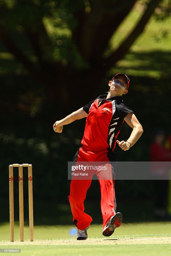 Lauren Ebsary of the Scorpions bowls during the WNCL match between the Western Australia Fury and the South Australia Scorpions at Christ Church Grammar Playing Fields on December 8, 2012 in Perth, Australia.