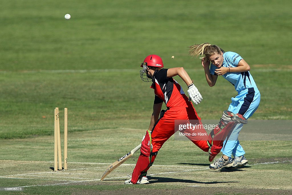 Lauren Ebsary of the Scorpions is run-out during the women's Twenty20 match between the South Australia Scorpions and the New South Wales Breakers at Prospect Oval on December 21, 2012 in Adelaide, Australia.