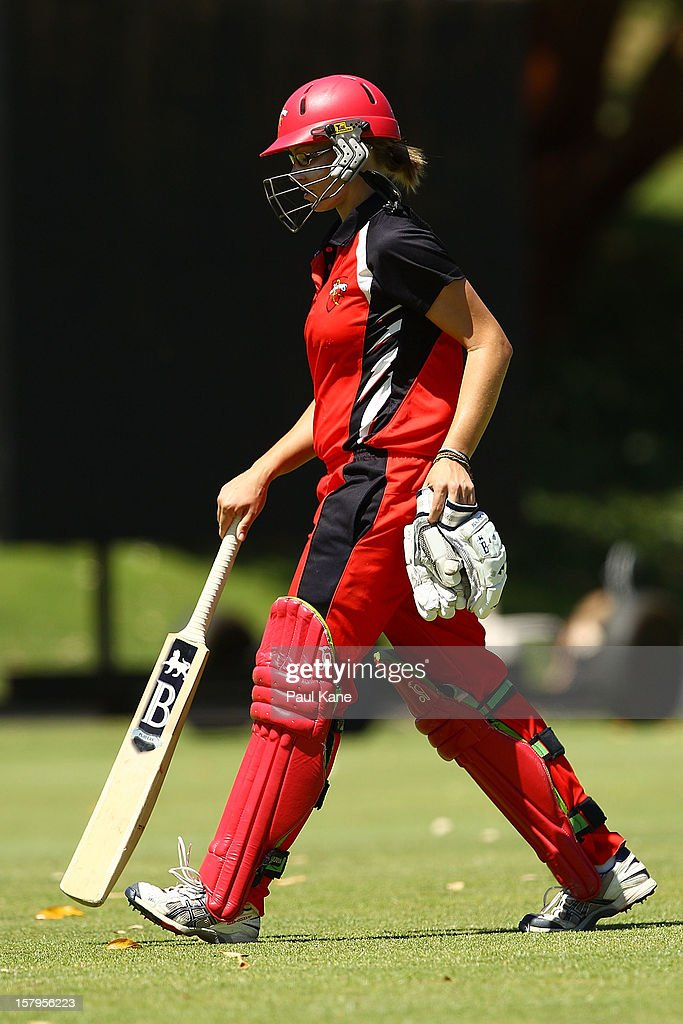 Lauren Ebsary of the Scorpions walks back to the rooms after being dismissed during the WNCL match between the Western Australia Fury and the South Australia Scorpions at Christ Church Grammar Playing Fields on December 8, 2012 in Perth, Australia.