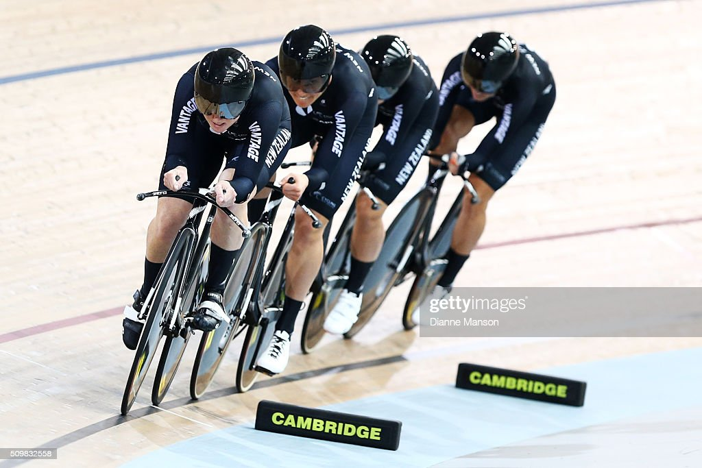 Lauren Ellis, Jaime Nielsen, Georgia Williams and Rushlee Buchanan of New Zealand during a 4000m Team Pursuit time trial at the New Zealand Track National Championships on February 13, 2016 in Cambridge, New Zealand.