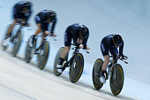 Lauren Ellis Rushlee Buchanan Jamie Nielsen and Georgia Amy Williams of New Zealand compete in the Womens Team Pursuit bronze medal race during day 2...