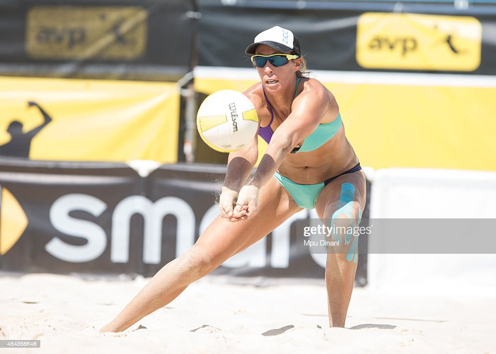 Lauren Fendrick digs the ball at the 2014 AVP Cincinnati Open on August 29, 2014 at the Lindner Family Tennis Center in Cincinnati, Ohio.