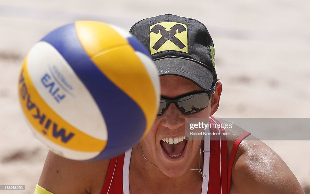 Lauren Fendrick of United States (R) and Carolina Salgado of Brazil in action during day third of the FIVB Beach Volleyball Sao Paulo Grand Slam 2013 at Parque Villa Lobos on October 10, 2013 in Sao Paulo, Brazil.