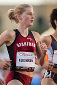 Lauren Fleshman of Stanford University runs Women's 1500 meter event of the US Open Track Field Invitational held on June 8 2002 at Cobb Track on the...