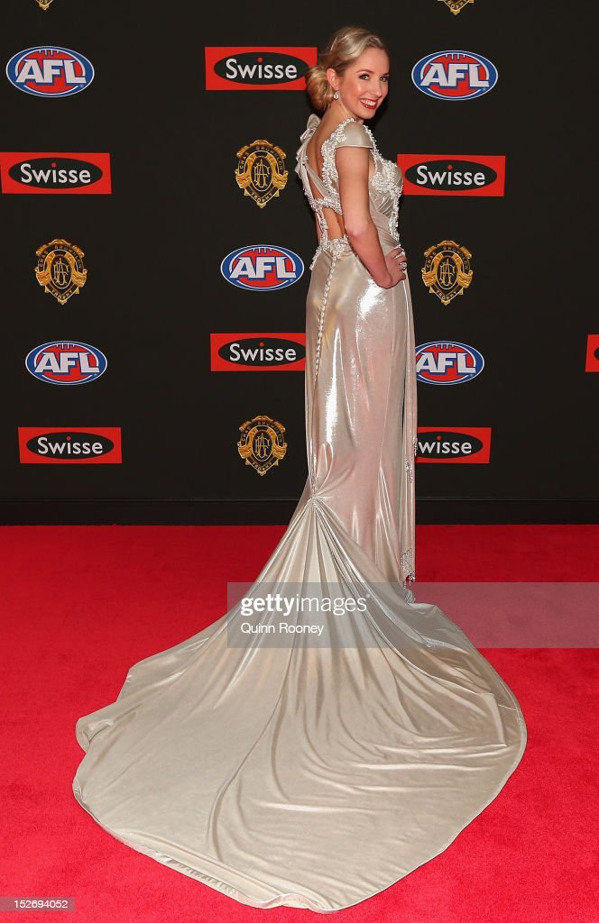 Lauren Gear the partner of Scott Thompson of the Kangaroos poses ahead of the 2012 Brownlow Medal at Crown Palladium on September 24, 2012 in Melbourne, Australia.