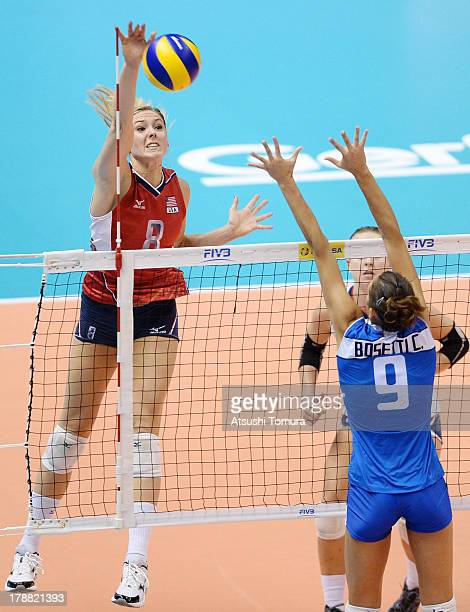 Lauren Gibbemeyer of USA in action during day four of the FIVB World Grand Prix Sapporo 2013 match between Italy and USA at Hokkaido Prefectural...