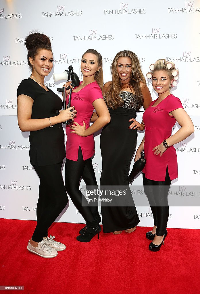 <a gi-track='captionPersonalityLinkClicked' href=/galleries/search?phrase=Lauren+Goodger&family=editorial&specificpeople=7360081 ng-click='$event.stopPropagation()'>Lauren Goodger</a> (third from left) and her 'Essex Angels' attend the launch of 'Lauren's Way', a collection by <a gi-track='captionPersonalityLinkClicked' href=/galleries/search?phrase=Lauren+Goodger&family=editorial&specificpeople=7360081 ng-click='$event.stopPropagation()'>Lauren Goodger</a> at Jewel Bar on May 8, 2013 in London, England.