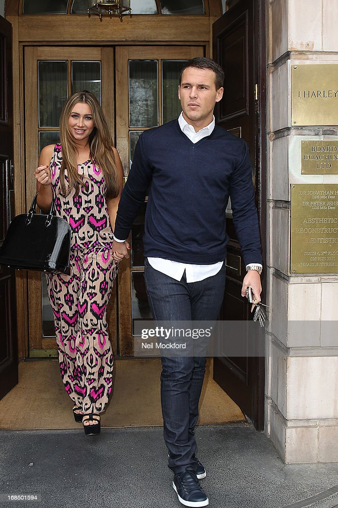 <a gi-track='captionPersonalityLinkClicked' href=/galleries/search?phrase=Lauren+Goodger&family=editorial&specificpeople=7360081 ng-click='$event.stopPropagation()'>Lauren Goodger</a> and Jake McLean are pictured visiting Dr Simon Darfoor at 1 Harley Street, to have a 'his and hers smile make over' on May 10, 2013 in London, England.