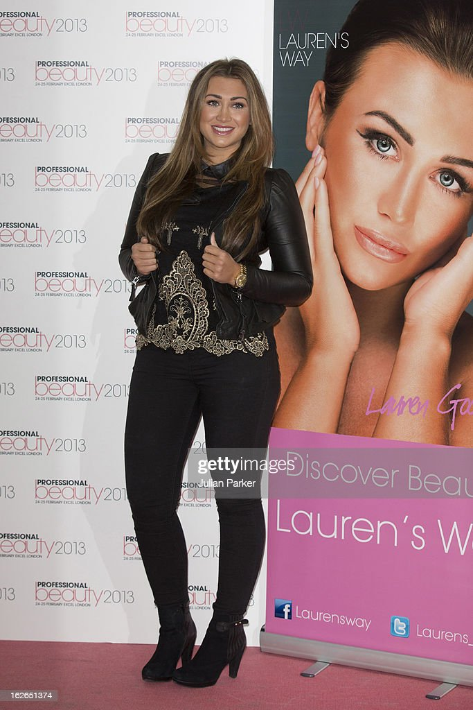 <a gi-track='captionPersonalityLinkClicked' href=/galleries/search?phrase=Lauren+Goodger&family=editorial&specificpeople=7360081 ng-click='$event.stopPropagation()'>Lauren Goodger</a> attends the Professional Beauty show, and signs her products for customers, at ExCel on February 25, 2013 in London, England.