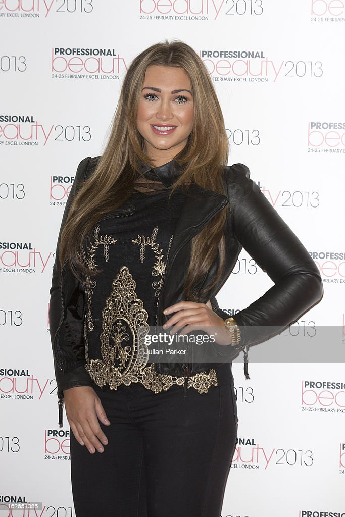 Lauren Goodger attends the Professional Beauty show, and signs her products for customers, at ExCel on February 25, 2013 in London, England.