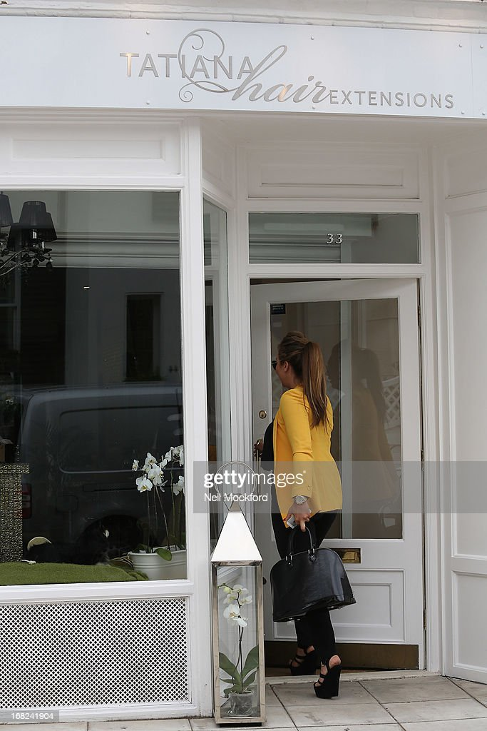 Lauren Goodger is spotted arriving at the Tatiana Hair Extensions salon ahead of her 'Lauren's Way' launch tomorrow on May 7, 2013 in London, England.