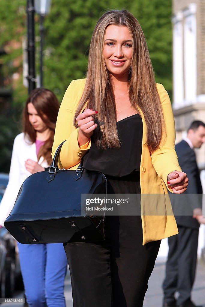 Lauren Goodger is spotted leaving the Tatiana Hair salon ahead of her 'Lauren's Way' launch tomorrow on May 7, 2013 in London, England.
