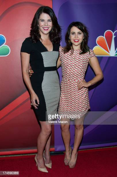 Lauren Graham and Mae Whitman arrives at the NBCUniversal's '2013 Summer TCA Tour' at The Beverly Hilton Hotel on July 27 2013 in Beverly Hills...