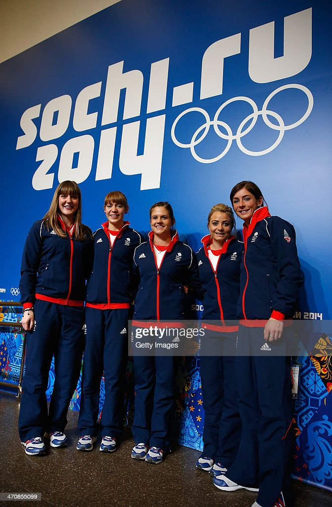 Lauren Gray, Claire Hamilton, Vicki Adams, Anna Sloan and Eve Muirhead of the Great Britain Curling team pose together during a press conference after Team GB won the bronze medal on day 13 of the Sochi 2014 Winter Olympics at the Main Press Center (MPC) on February 20, 2014 in Sochi, Russia.
