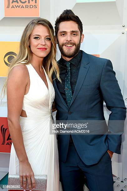 Lauren Gregory and recording artist Thomas Rhett attend the 51st Academy of Country Music Awards at MGM Grand Garden Arena on April 3 2016 in Las...