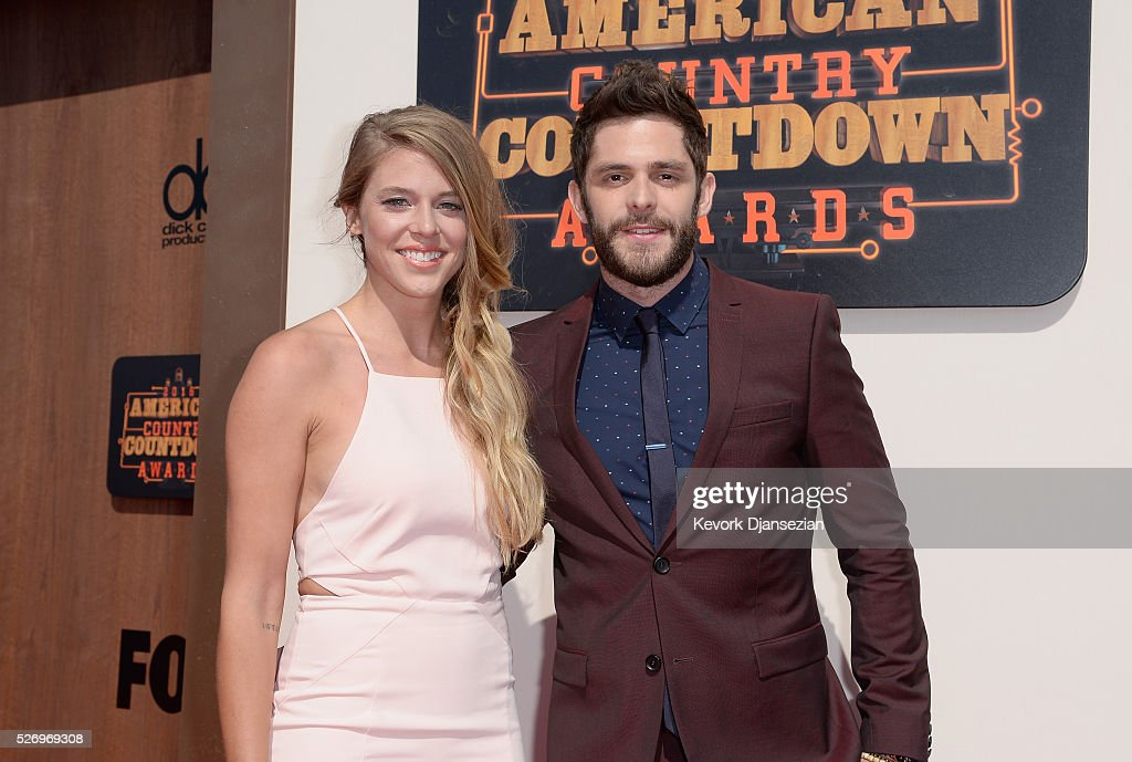 Lauren Gregory (L) and singer-songwriter Thomas Rhett attend the 2016 American Country Countdown Awards at The Forum on May 1, 2016 in Inglewood, California.