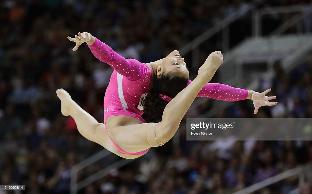 Lauren Hernandez competes in the floor exercise during Day 2 of the 2016 U.S. Women's Gymnastics Olympic Trials at SAP Center on July 10, 2016 in San Jose, California.