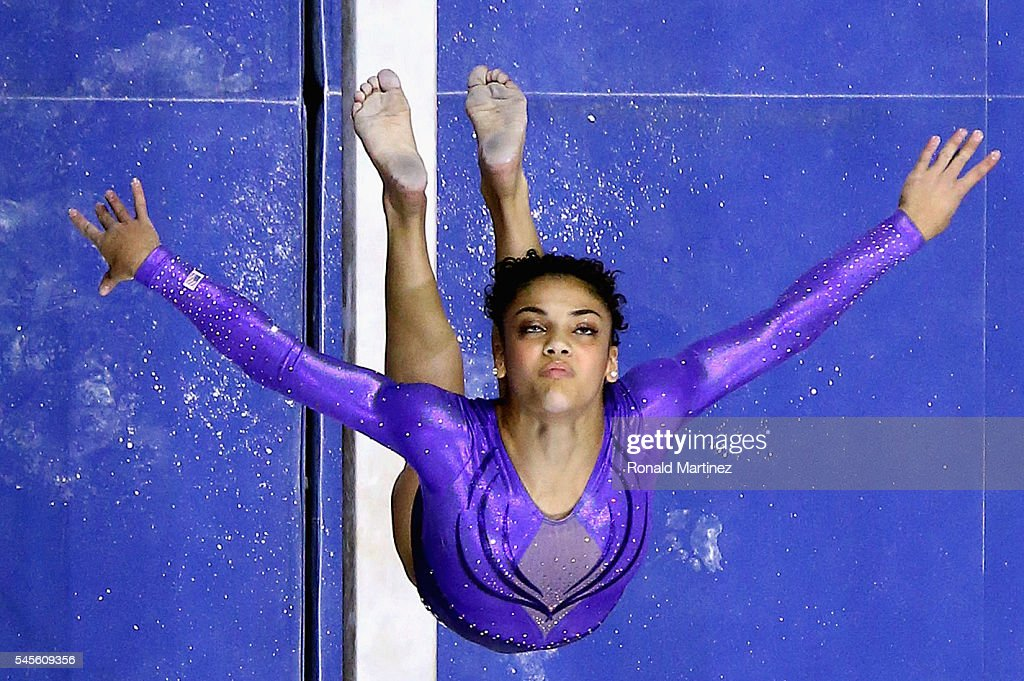 Lauren Hernandez competes on the balance beam during day 1 of the 2016 U.S. Olympic Women's Gymnastics Team Trials at SAP Center on July 8, 2016 in San Jose, California.