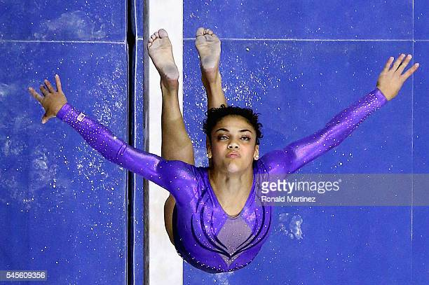 Lauren Hernandez competes on the balance beam during day 1 of the 2016 US Olympic Women's Gymnastics Team Trials at SAP Center on July 8 2016 in San...