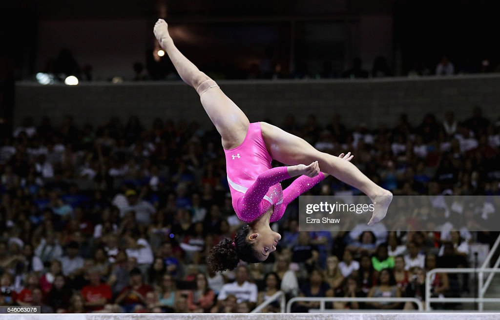 Lauren Hernandez competes on the balance beam during Day 2 of the 2016 U.S. Women's Gymnastics Olympic Trials at SAP Center on July 10, 2016 in San Jose, California.