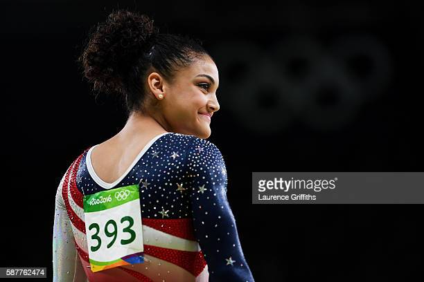 Lauren Hernandez of the United States prepares ro compete on the balance beam during the Artistic Gymnastics Women's Team Final on Day 4 of the Rio...