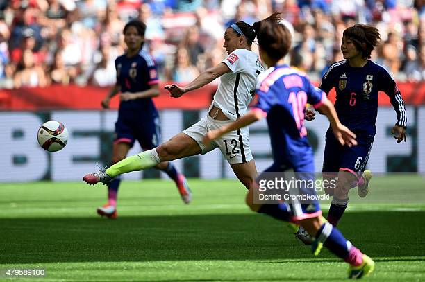 Lauren Holiday of the United States scores her first goal in the first half against Japan in the FIFA Women's World Cup Canada 2015 Final at BC Place...